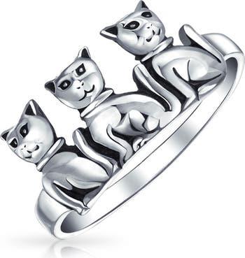 Кольцо из стерлингового серебра с кошачьим трио Bling Jewelry