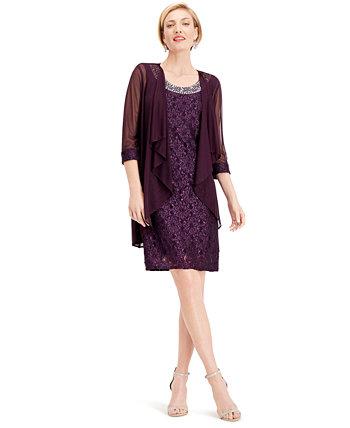 Украшенное кружевное платье-футляр и жакет R & M Richards