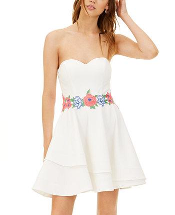 Платье без бретелек с вышивкой Fit & Flare для юниоров B Darlin