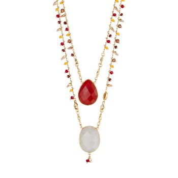 Ожерелье Scapulaire Serti с позолотой 24 карат с несколькими камнями Gas Bijoux