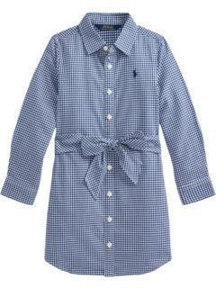 Платье-рубашка из хлопкового твила в клетку (для маленьких детей) Ralph Lauren