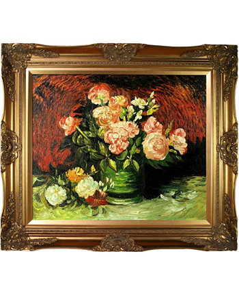 "By Overstockart Bowl with Peonies and Roses with Victorian Frame, 28"" x 32"" La Pastiche"