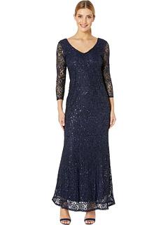Узкое кружевное платье 3/4 с V-образным вырезом спереди и сзади MARINA