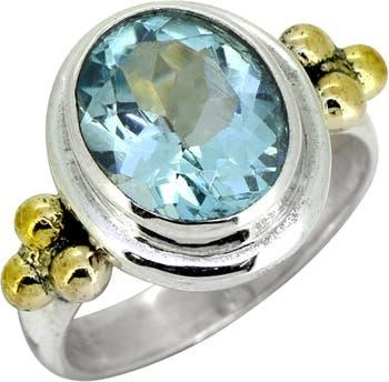 Серебряное латунное кольцо с синим топазом Nitya
