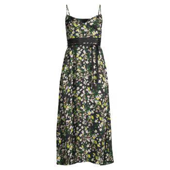 Атласное платье с цветочным принтом Cynthia Rowley