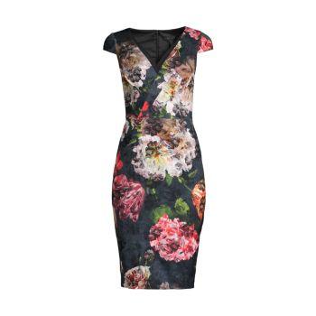 V-Neck Midi Dress Aidan Mattox