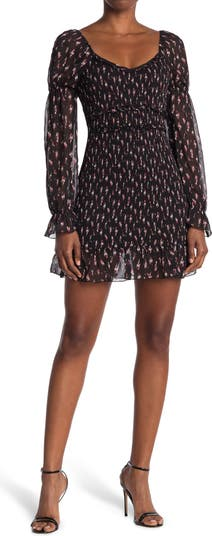 Metallic Long Sleeve Smocked Bodycon Mini Dress KENEDIK