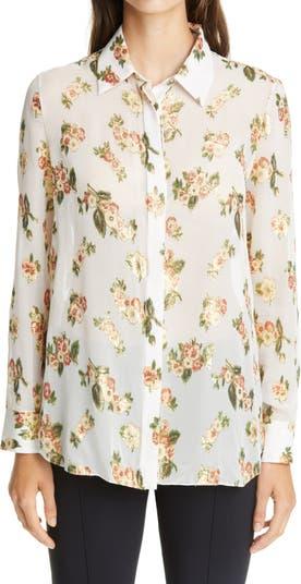 Metallic Floral Fil Coupé Silk Blend Blouse Adam Lippes