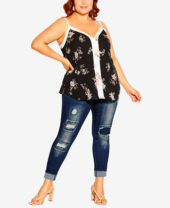 Plus Size Cami Spliced Floral Top City Chic