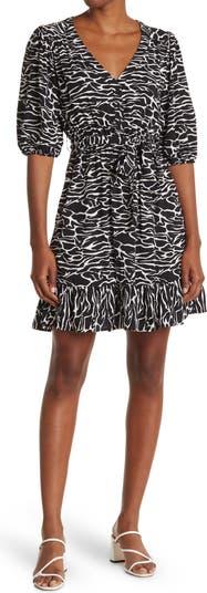 Darcie Zebra Print V-Neck Balloon Sleeve Fit & Flare Dress Velvet Heart