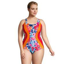 Plus Size Lands' End Colorblock Bust-Minimizer Athletic One-Piece Swimsuit Lands' End