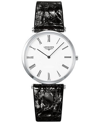 Мужские швейцарские часы La Grande Classique De Longines с черным кожаным ремешком 36 мм L47554112 Longines