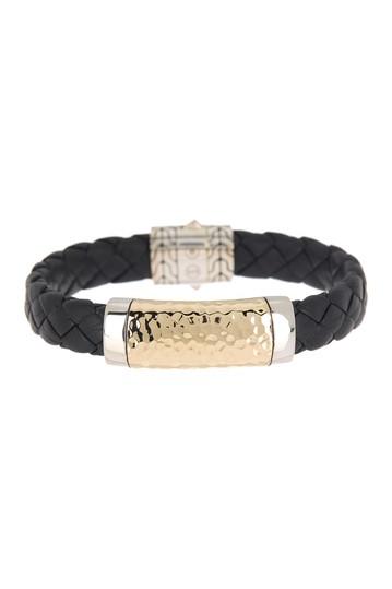 Классическая цепочка и кожаный браслет из золота 18 карат и стерлингового серебра JOHN HARDY