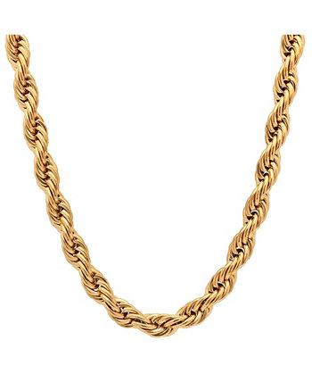 Мужское позолоченное 18-каратное золото из нержавеющей стали с цепочкой, 24 дюйма, колье STEELTIME
