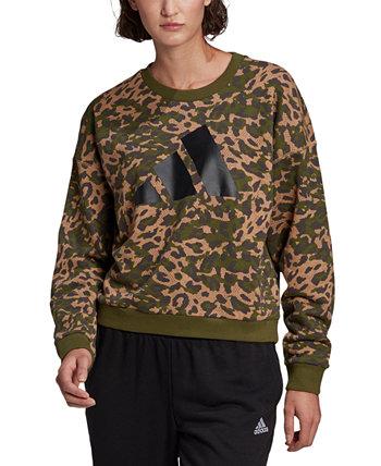 Женская хлопковая спортивная толстовка с леопардовым принтом Adidas