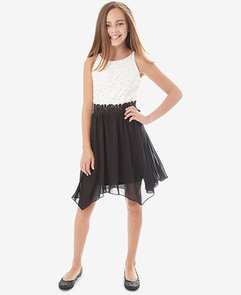 Контрастное платье с блестками и кружевами Big Girls BCX