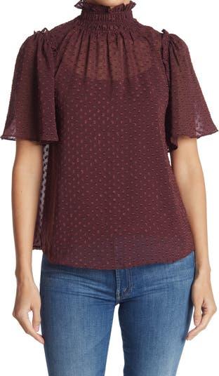 Блузка с коротким рукавом со сборками и воротником-стойкой Everleigh