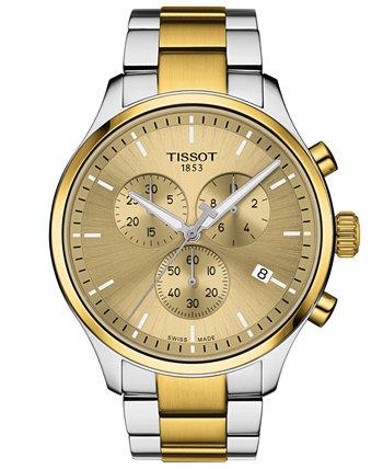 Мужские швейцарские часы с хронографом Chrono XL Classic двухцветные из нержавеющей стали с браслетом 45 мм Tissot