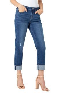 Устойчивые джинсы Marley Girlfriend с манжетами по краю в цвете Day Lily Liverpool