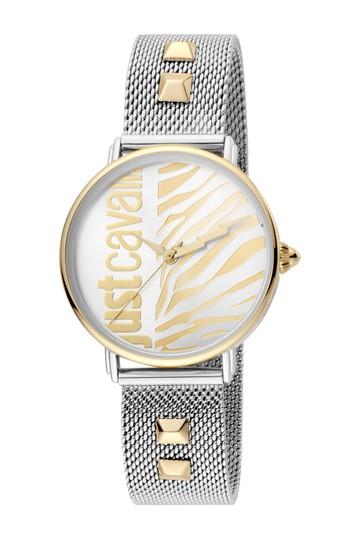 Женские часы с сетчатым ремешком и шипами животных, 32 мм Just Cavalli