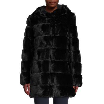 Faux Fur Hooded Jacket BCBGMAXAZRIA