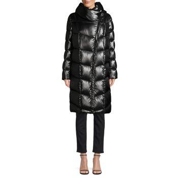 Пуховое пальто с воротником-воронкой Donna Karan