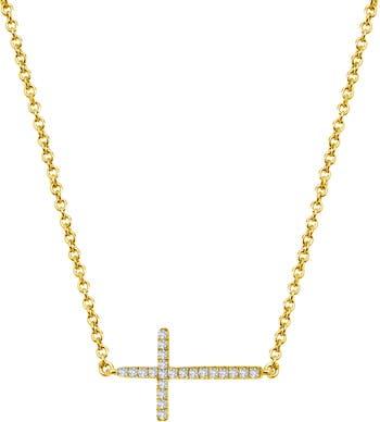Позолоченное серебро и имитация бриллианта с поперечным крестом LaFonn