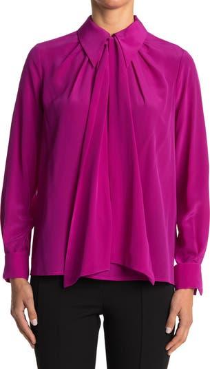 Шелковая блуза с драгоценным острым воротником Trina Turk