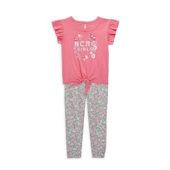 Двухкомпонентная футболка Little Girl с завязками спереди и amp; Комплект леггинсов с цветочным рисунком BCBGirls