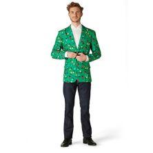 Мужской костюм Slim-Fit Christmas Tree Lights Light-Up Green Blazer Suitmeister