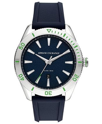 Мужские часы Enzo с синим силиконовым ремешком, 46 мм Armani Exchange
