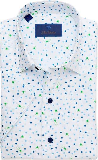 Классическая рубашка с короткими рукавами и принтом в горошек David Donohue David Donahue