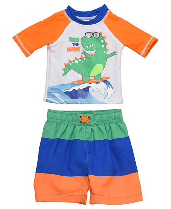 Набор из 2 штук Rashguard для новорожденных мальчиков с дизайном Dino для серфинга Wetsuit Club