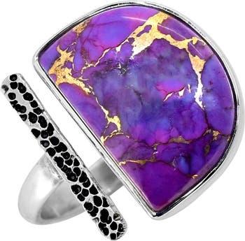 Пурпурное медно-бирюзовое чеканное кольцо из стерлингового серебра Nitya