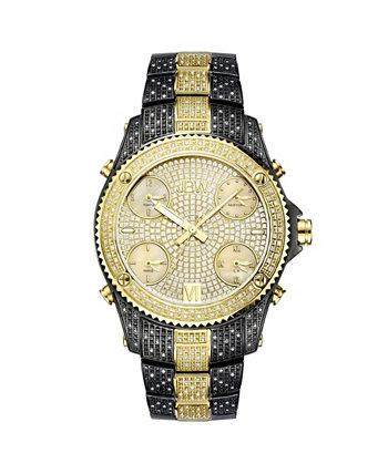 Мужские джет сеттер алмаз (2 кар.) Черные часы с ионным покрытием из нержавеющей стали JBW