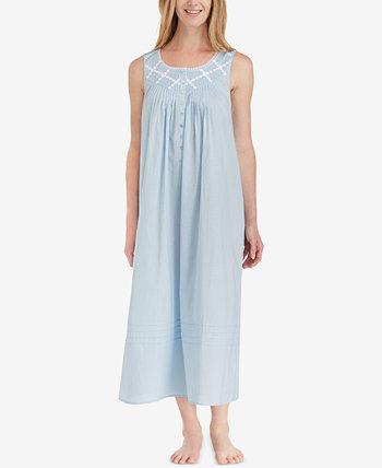 Хлопковая ночная рубашка длиной до балета с кружевной отделкой Eileen West