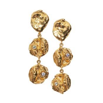 Золотые серьги Opus с голубым топазом и танзанитом Lizzie Fortunato