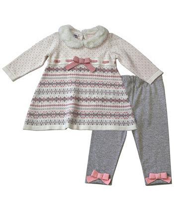 Комплект свитера и леггинсов с искусственным мехом Fairisle для маленьких девочек, 2 предмета Blueberi Boulevard