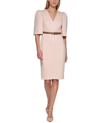 Платье с пышными рукавами и поясом Calvin Klein