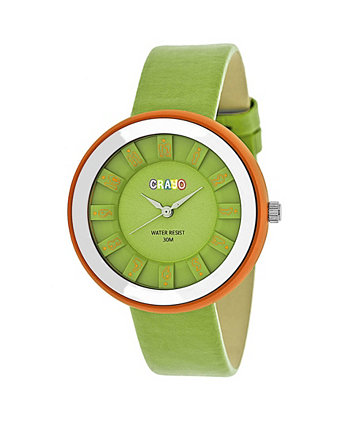 Зеленые часы с ремешком из натуральной кожи унисекс 38мм Crayo