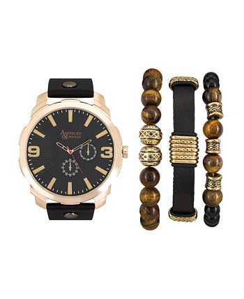 Мужские черные / золотые аналоговые кварцевые часы и праздничный набор American Exchange