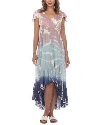 Tie-Dyed Flutter-Sleeve High-Low Cover-Up Dress Raviya