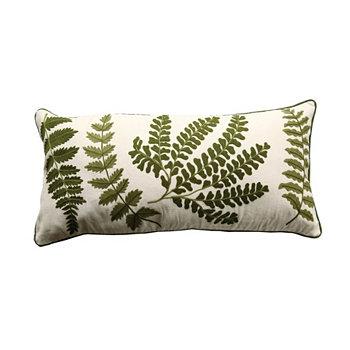 Белая прямоугольная подушка с вышитыми зелеными папоротниками BLOOMINGVILLE