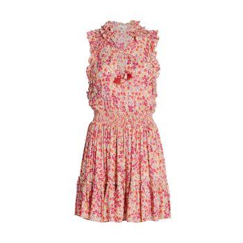 Мини-платье с оборками и кисточками Triny с цветочным принтом и оборками Poupette St Barth