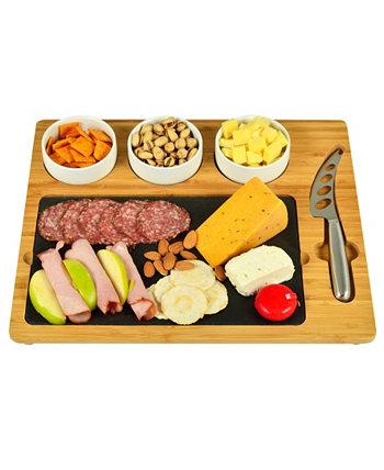 Deluxe Bamboo, Сланцевая сырная доска, 3 миски, многофункциональный нож Picnic At Ascot