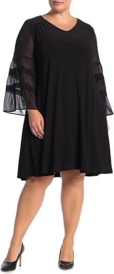Платье из шифона с рукавами и драгоценным вырезом Nina Leonard