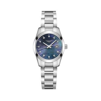 Conquest Classic 29MM Diamond Stainless Steel Automatic Watch Longines