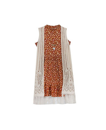 Платье для кукол с принтом для больших девочек и вязаный крючком жилет с бахромой Rare Editions