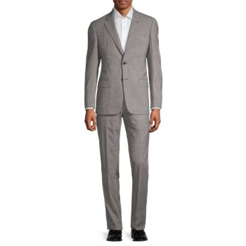 Фактурная натуральная шерсть & amp; Кашемировый костюм Armani Collezioni