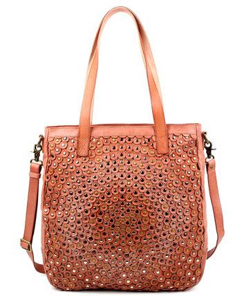 Кожаная большая сумка Stellar с заклепками Old Trend
